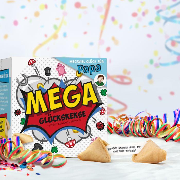 MEGA Glückskekse Geschenkbox für Papa - einzeln verpackt