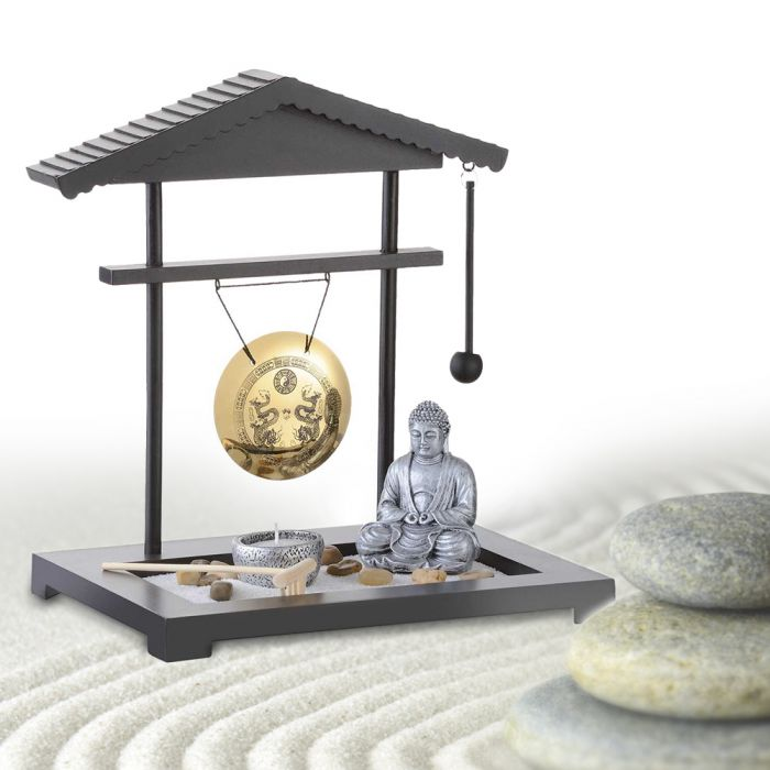 zen garten gong miniatur deko mit buddhafigur f r zu hause. Black Bedroom Furniture Sets. Home Design Ideas