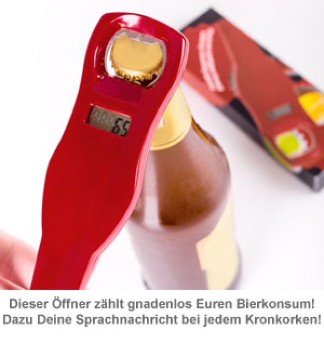 Mitzählender Flaschenöffner mit Sprachaufzeichnung