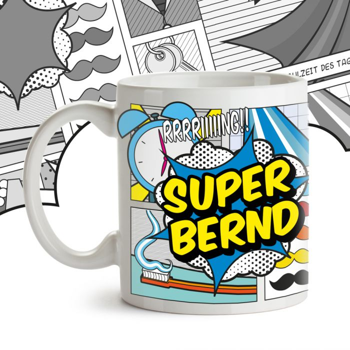 personalisierte comic tasse super mann mit wunschnamen. Black Bedroom Furniture Sets. Home Design Ideas