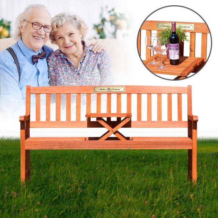 personalisierte hochzeitsbank zur goldenen hochzeit mit gravurplakette. Black Bedroom Furniture Sets. Home Design Ideas