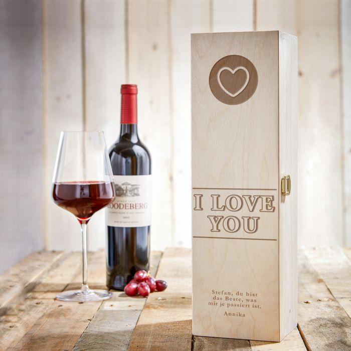 Personalisierte Weinkiste - I Love You