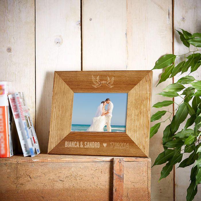 Personalisierter Bilderrahmen für Paare - Liebestauben Motiv