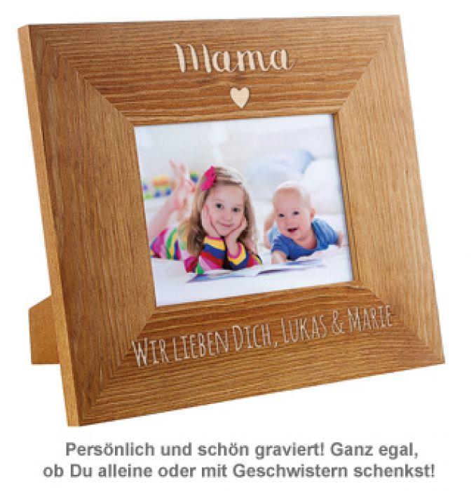 personalisierter bilderrahmen mama mit herz edel graviert. Black Bedroom Furniture Sets. Home Design Ideas