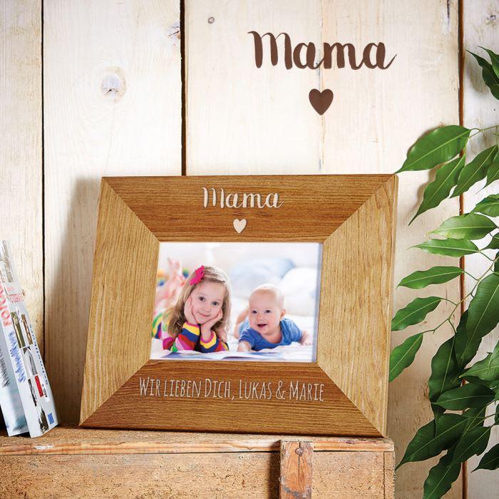 Personalisierter Bilderrahmen - Mama mit Herz - edel graviert