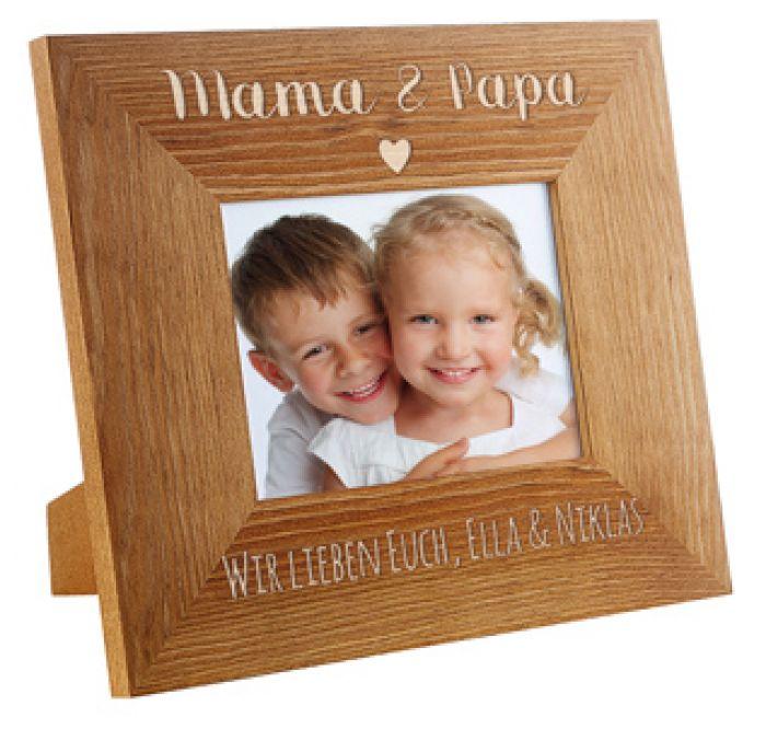 personalisierter bilderrahmen gravur mama papa mit herz. Black Bedroom Furniture Sets. Home Design Ideas
