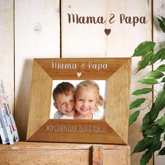Personalisierter Bilderrahmen - Gravur Mama & Papa mit Herz
