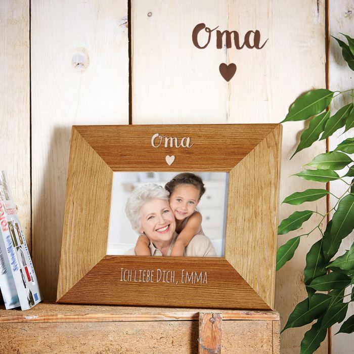 Personalisierter Bilderrahmen - Oma mit Herz - edel graviert