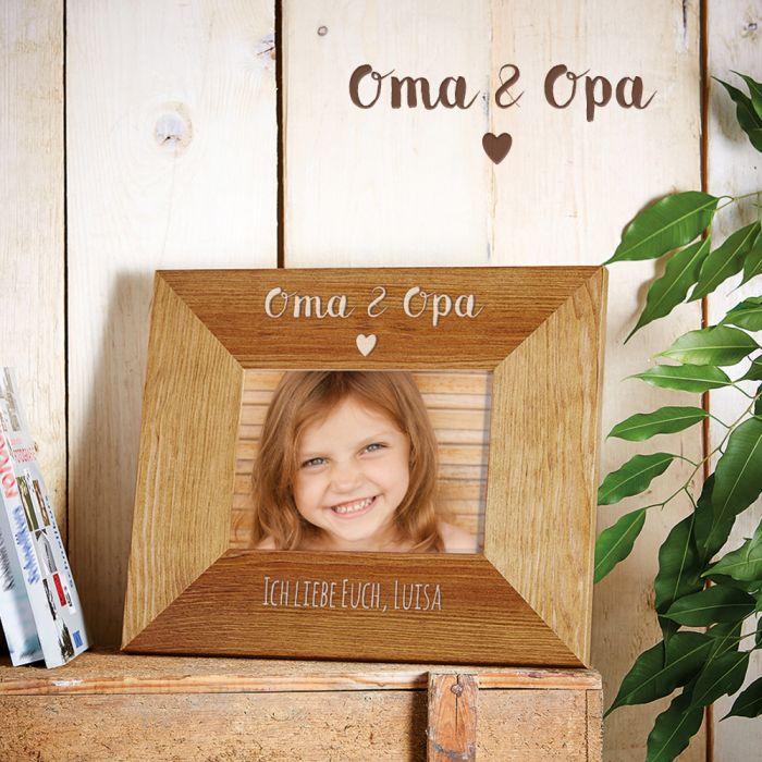 Personalisierter Bilderrahmen - Oma & Opa mit Herz Gravur