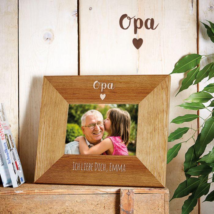 Personalisierter Bilderrahmen - Opa mit Herz - edel graviert
