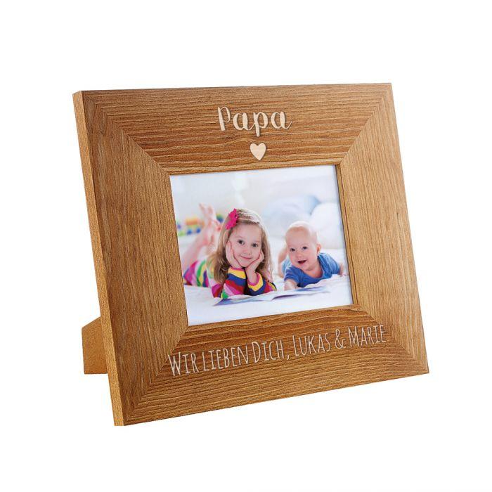 personalisierter bilderrahmen papa mit herz edel graviert. Black Bedroom Furniture Sets. Home Design Ideas