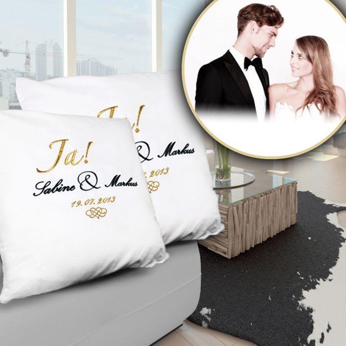 Personalisiertes Kissen Zur Hochzeit Individuelle Edle Stickerei