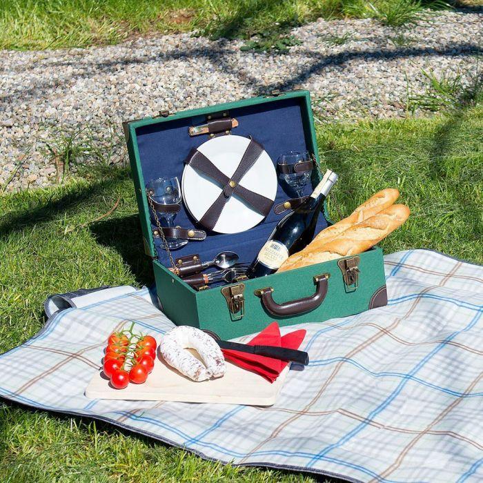 vintage picknick koffer 11 teilig f r 2 personen im exklusiven retro design. Black Bedroom Furniture Sets. Home Design Ideas