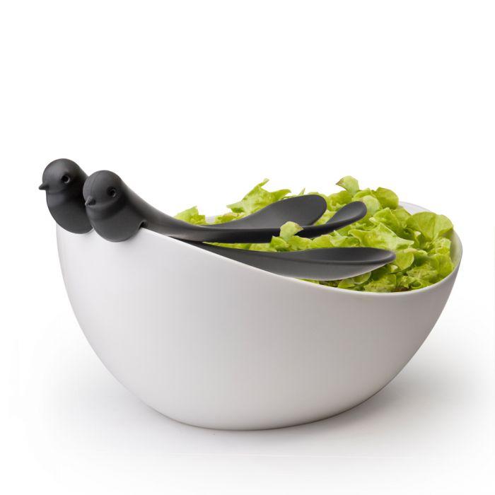 Salatschüssel mit Besteck - Spatzen thronen über Deinem Salat