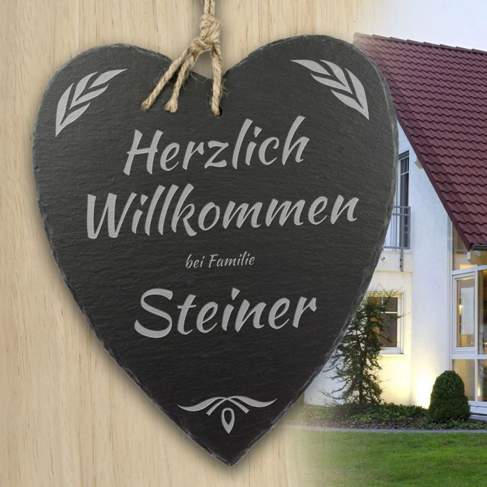 schieferherz familie personalisiert mit wunschnamen graviert. Black Bedroom Furniture Sets. Home Design Ideas
