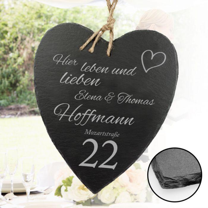Schieferherz zur Hochzeit - Hausnummer - persönlich für das Brautpaar