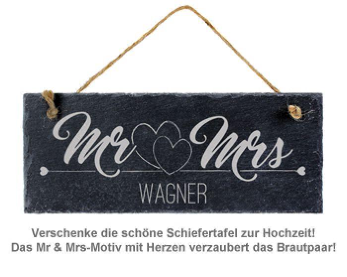 Schiefertafel mit Gravur - Mr and Mrs