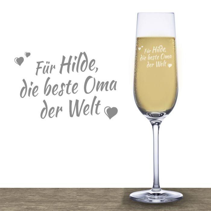 Sektglas mit Gravur - Beste Oma - mit Wunschnamen