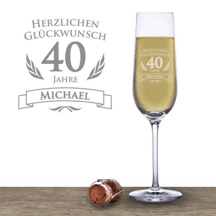 Sektglas zum 40 geburtstag f r junggebliebene sekttrinker for Bastelideen zum 40 geburtstag