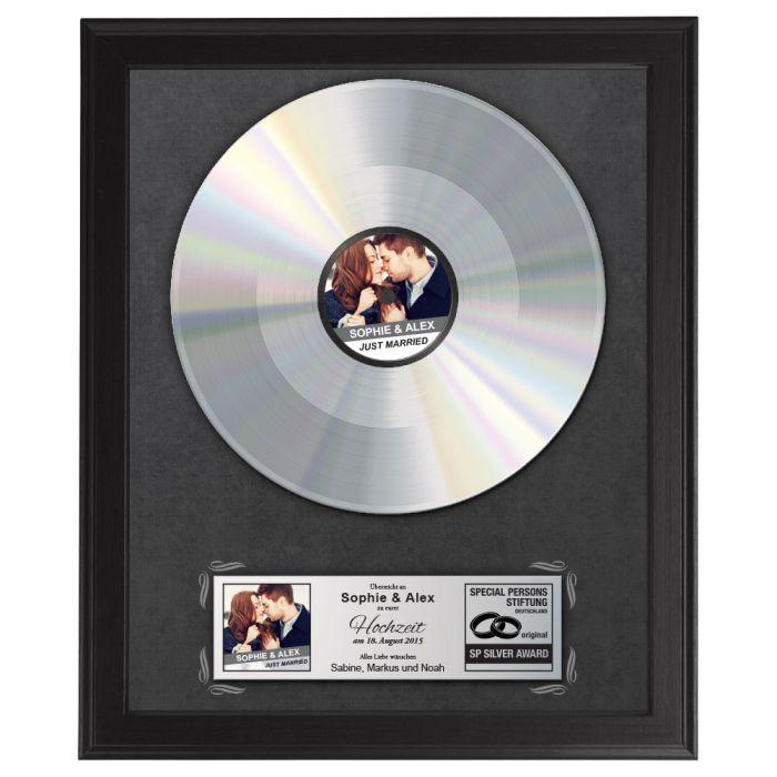 Individuellfotogeschenke - Silberne Schallplatte Hochzeitsbild - Onlineshop Monsterzeug