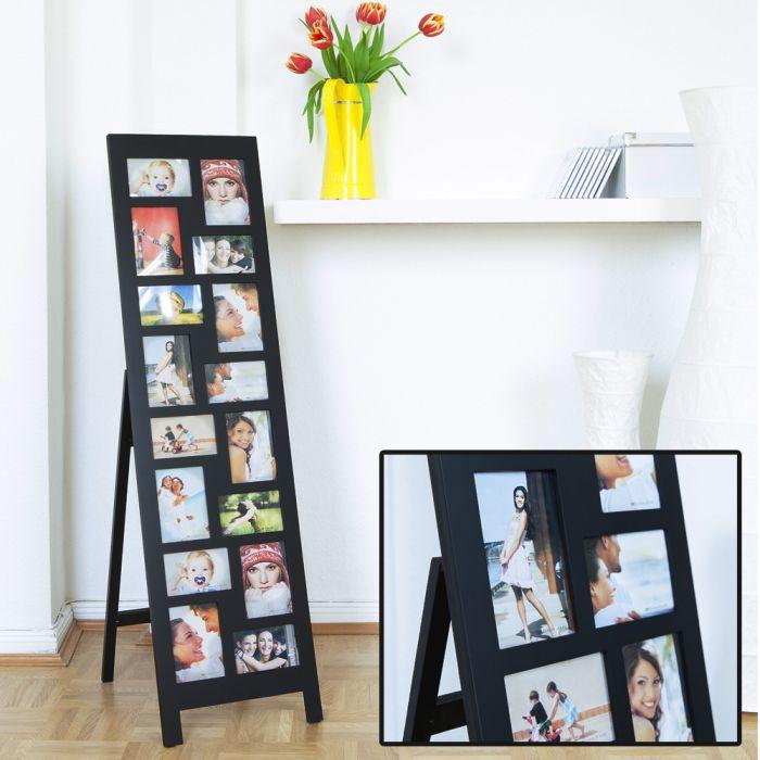 stehende xl fotowand riesen holz bilderrahmen f r 16 fotos. Black Bedroom Furniture Sets. Home Design Ideas