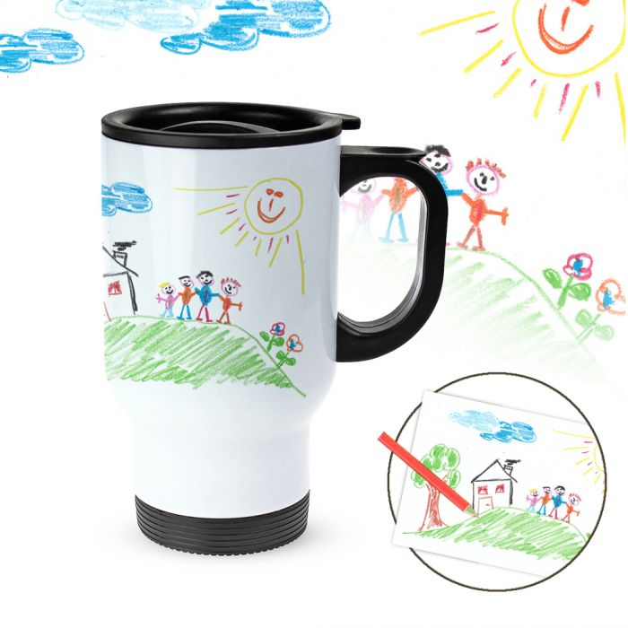 tasse thermo personnalis e avec photo dessin d enfant. Black Bedroom Furniture Sets. Home Design Ideas