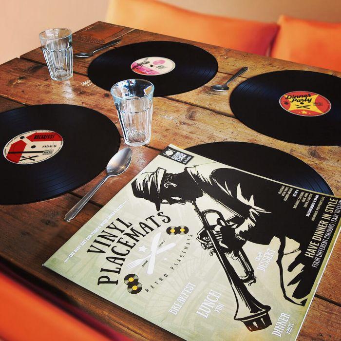 Ausgefallenspezielles - Tischset im Vinyl Schallplatten Look 4 teilig - Onlineshop Monsterzeug