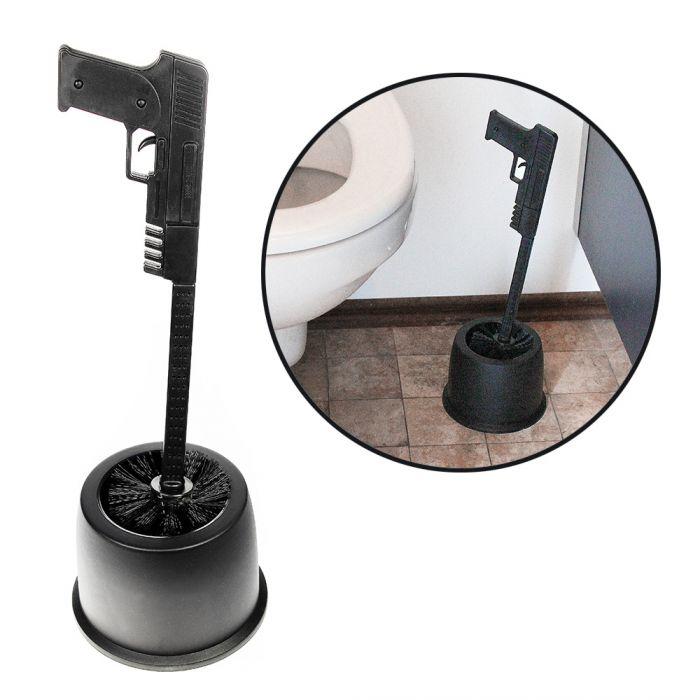 ausgefallene toilettenb rste black pistol im witzigen design. Black Bedroom Furniture Sets. Home Design Ideas