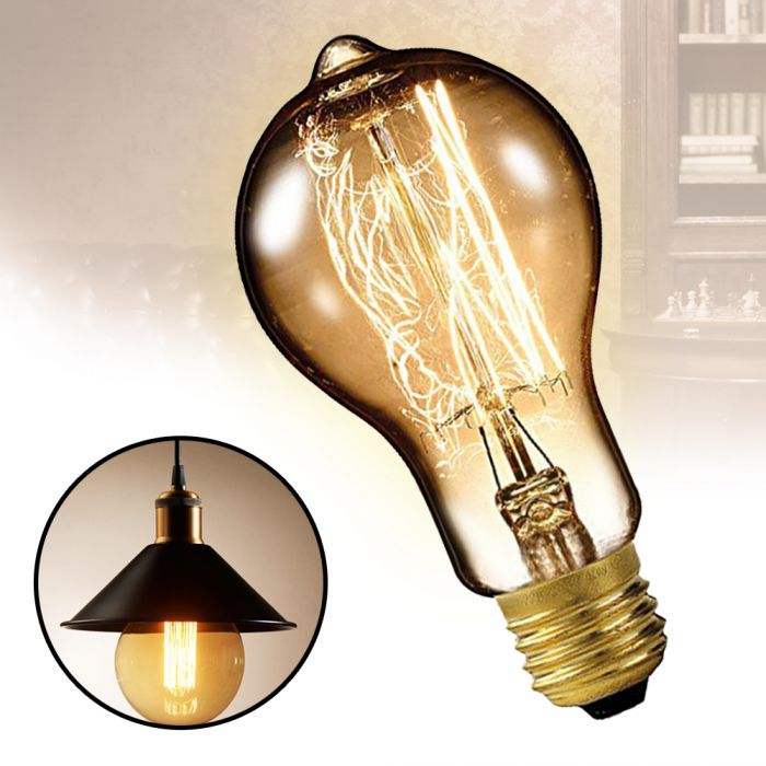 Vintage Glühbirne mit Glühdraht - gewölbt Retro Glühlampe 19. Jhd