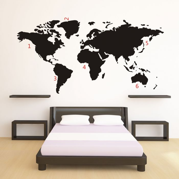 wandtattoo weltkarte moderner wandsticker in schwarz. Black Bedroom Furniture Sets. Home Design Ideas