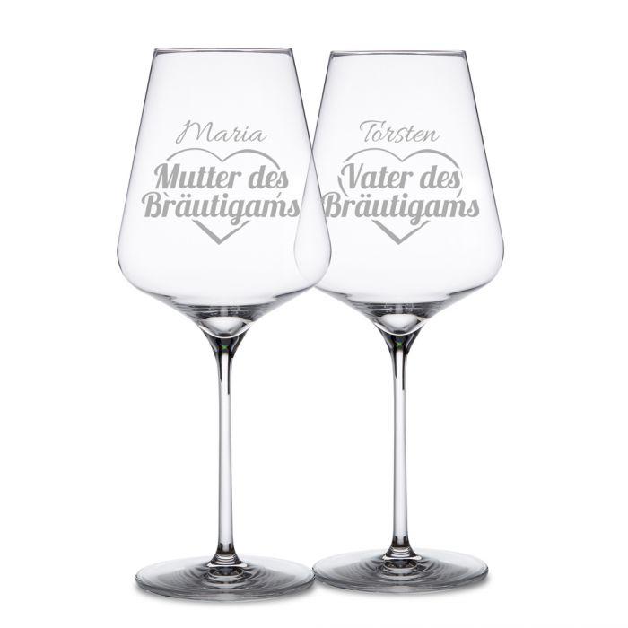 Weingläser für Bräutigameltern