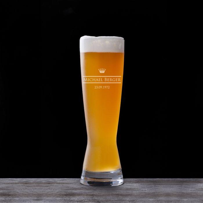Verre à bière blanche avec gravure - royal
