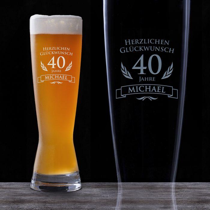 weizenglas zum 40 geburtstag personalisiert bierglas graviert. Black Bedroom Furniture Sets. Home Design Ideas