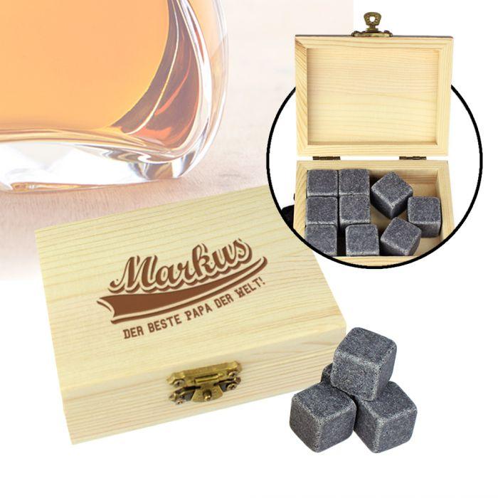 Whisky Steine in Holzkiste mit Gravur - College Bester Papa
