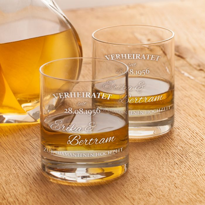 Whiskyglaser Zur Diamantenen Hochzeit Mit Namen Datum Graviert