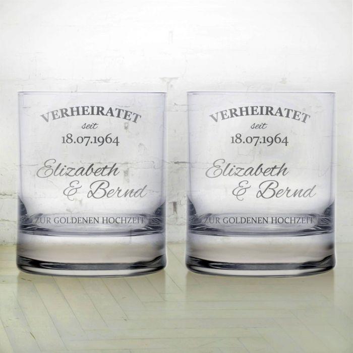whiskygl ser zur goldenen hochzeit personalisiertes 2er set. Black Bedroom Furniture Sets. Home Design Ideas