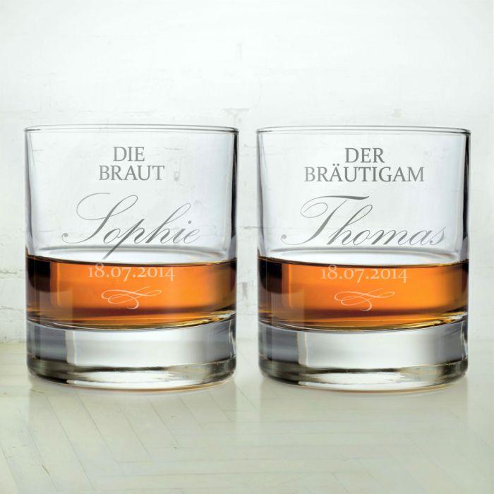 Whiskygläser zur Hochzeit - Braut und Bräutigam - individuell und edel