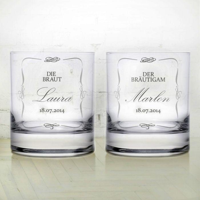 whiskygl ser zur hochzeit brautpaar pers nliche 2er set gravur. Black Bedroom Furniture Sets. Home Design Ideas