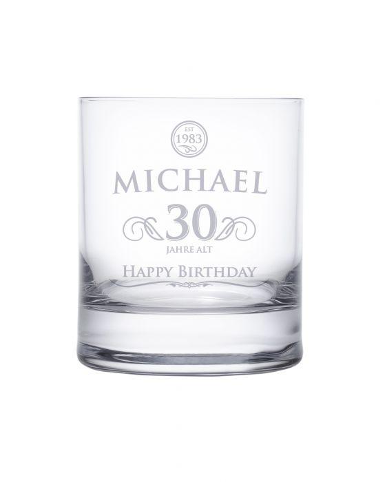 Whiskyglas 30. Geburtstag - elegant