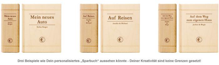 Spardose - Buch aus Holz