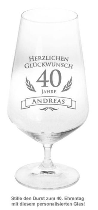 Bierglas zum 40. Geburtstag