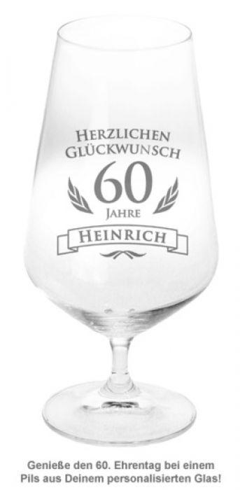 Bierglas zum 60. Geburtstag