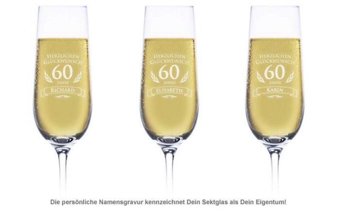 Sektglas zum 60. Geburtstag