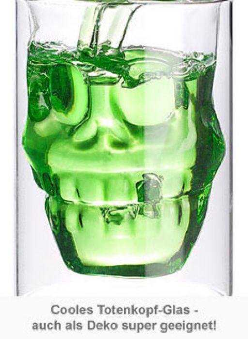 Doppelwandiges Trinkglas - Totenkopf