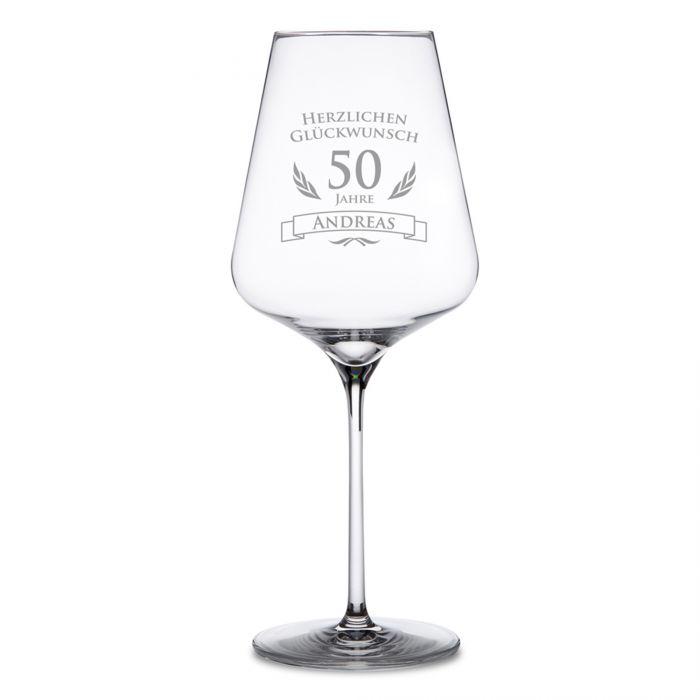 Weinglas zum 50. Geburtstag