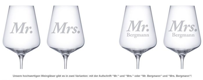 Weingläser - Mr and Mrs