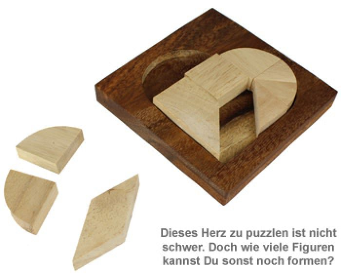 mini holz puzzle herz tangram aus holz zur figurenbildung. Black Bedroom Furniture Sets. Home Design Ideas