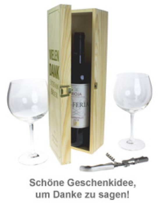 Personalisierte Weinkiste - Danksagung