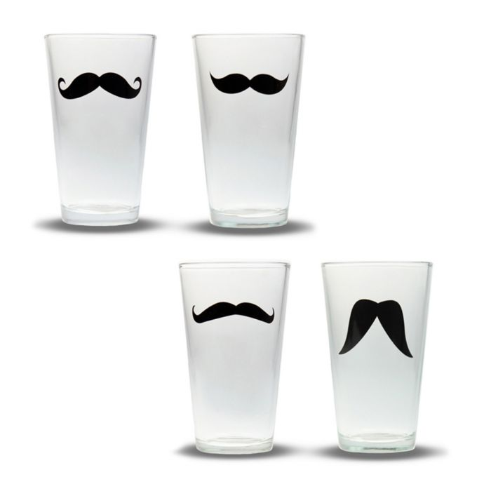 Schnurrbart Gläser - 4er Set