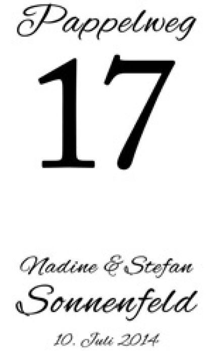Laterne zur Hochzeit - Hausnummer